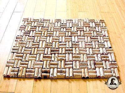 Tapete feito de rolhas de cortiça