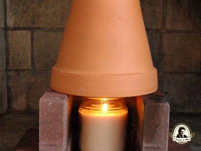Aquecedor artesanal com velas