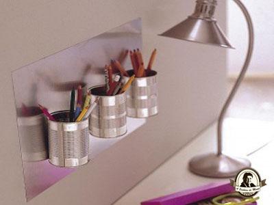 Porta canetas / lápis feitos com latas de conserva
