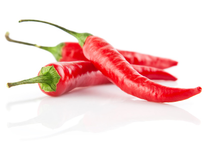 red chilli peppers isolated on white background
