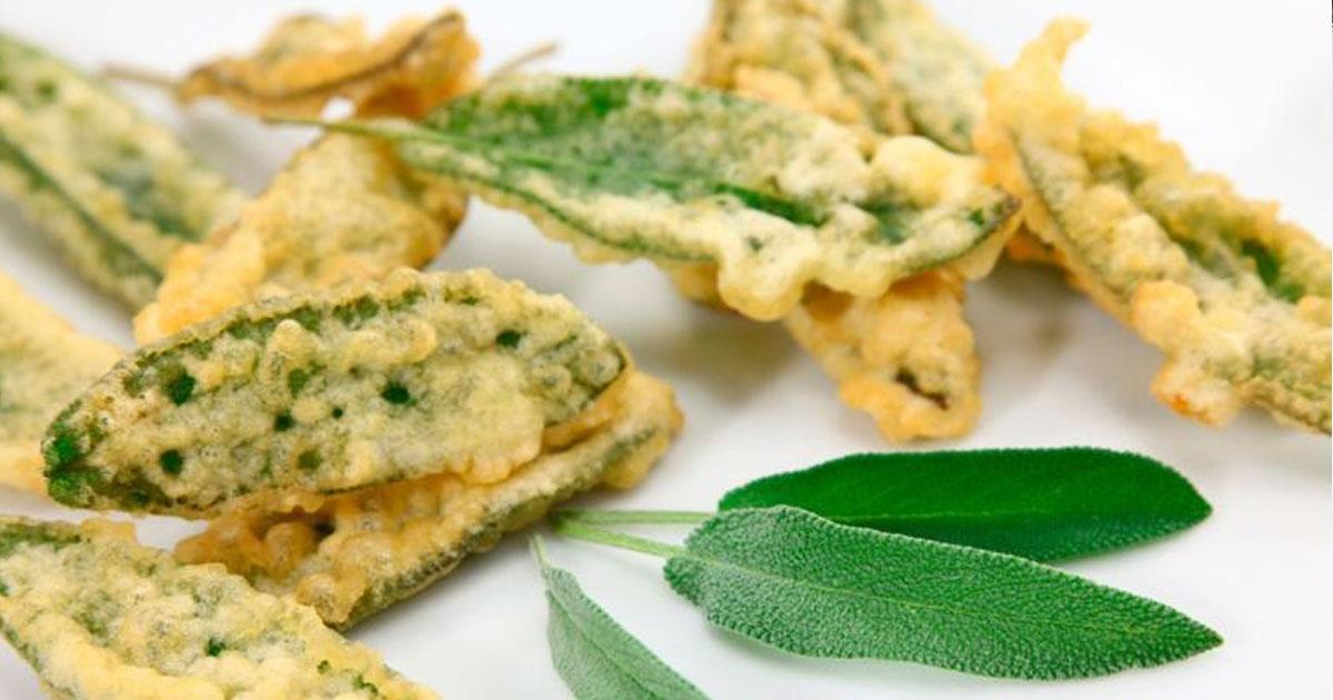Experimente esta receita de peixinhos da horta com folhas de sálvia!
