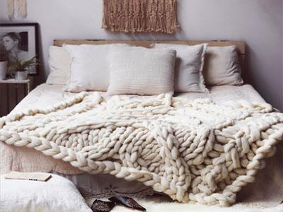 Manta de cama feita em tricô