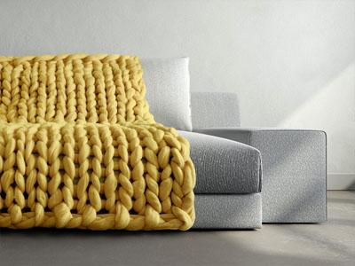 Manta de sofá em tricot